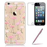 Funda iPhone SE con Protector de Cristal Templado, Yoowei [3 en 1] iPhone 5S Caso Suave TPU Funda Cubierta de Ultra Delgado Impresión de Silicona Carcasa Trasera para Apple iPhone 5 5s, Cute Flamingo