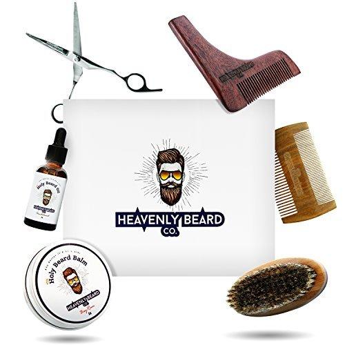 Beard Grooming Kit Gift Set - 2oz Bay Rum Beard Balm Conditioner, 1oz Sandalwood Beard Oil, Brush, Comb, Trimming Scissors by HBCO
