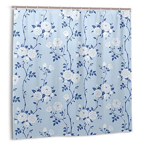 Duschvorhang mit Rosenblüten & blauen Blättern auf himmelblauem Duschvorhang im rustikalen Landhausstil mit Wasserfarbe & weißer Blume, wasserdicht für Badezimmer