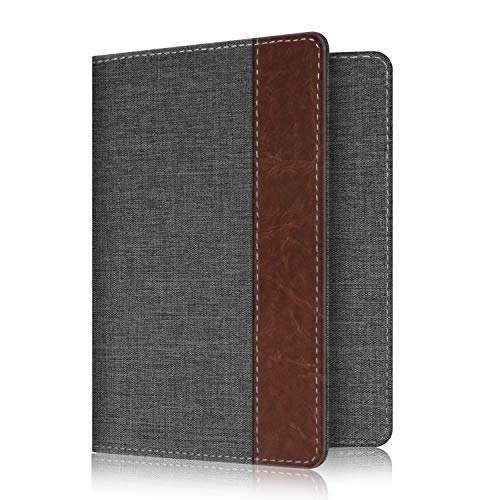 Fintie Passport Holder Travel Wallet RFID Blocking Fabric Card Case Cover, Denim Charcoal/Brown