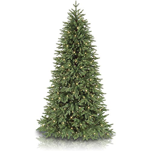 Balsam Hill Stratford Spruce 6.5 Foot Prelit Artificial Slim Full Bodied Christmas Holiday Tree with Clear White Lights, Hinged Branches, Premium Stand, Storage Bag and Protective Gloves