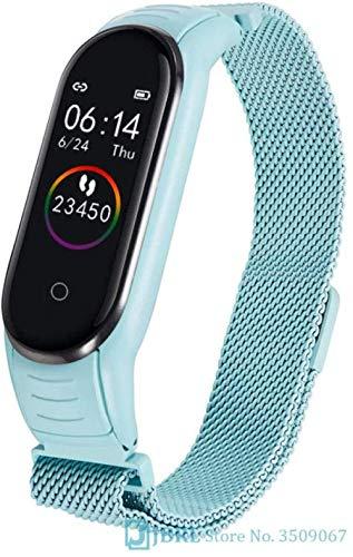 GBX Damen Edelstahl Armband Smart Digitaluhr Armband Armband Frauen SchlafüberwachungFitness TrackerMänner und Frauen Sport Armband-Blue_Magnet