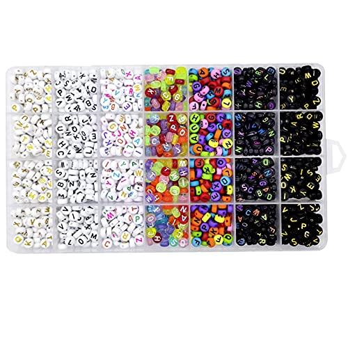 Lnvision 1400 unidades de 7 colores 4 x 7 mm redondas de acrílico A-Z mezclados