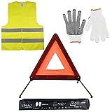LIHAO Kits d'urgence pour Auto, Triangles de Signalisation, Gilets de Sécurité, Gants pour Auto