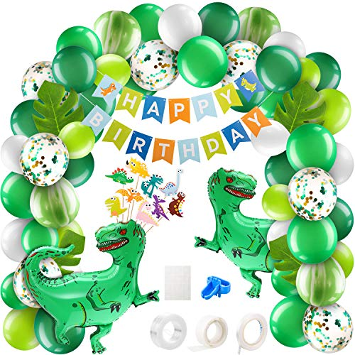 157 Pieces Dinosaur Balloons Garland Kit Green Balloon Arch Garland Dinosaur Foil Balloons Cupcake Topper Happy Birthday Banner Tropical Palm Leaves for Jungle Jurassic Party (Tyrannosaurus Rex Dino)
