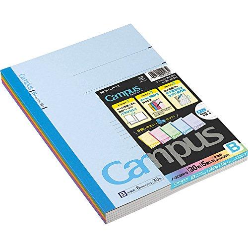 Kokuyo Campus Tokyo University Todai Series Liniertes Notizbuch, Semi B5 (252 x 179 x 4 mm), 6mm-linierte x35-Linien, 30 Seiten, Packung mit 5 Notizblöcken mit 5 Deckfarben, Hergestellt in Japan 3CBNx5