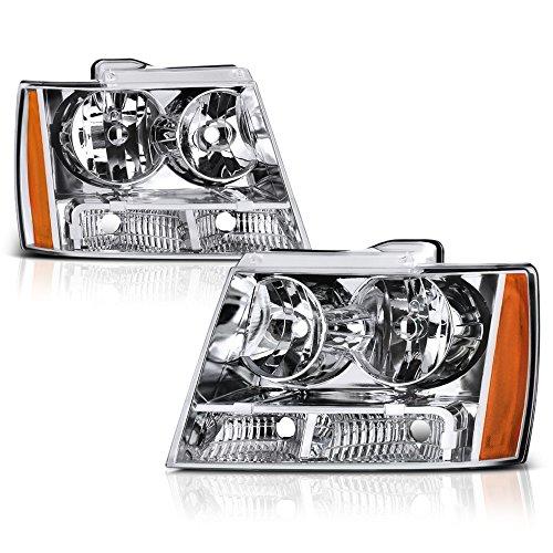 VIPMOTOZ Chrome Housing OE-Style Headlight Headlamp Assembly For 2007-2014 Chevy Avalanche Tahoe Suburban 1500 2500, Driver & Passenger Side