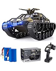 Rover rock Stunt RC Car, 4WD 2.4GHz Remote Control truck with off road tires LED Lights RC drift cars for Boys Birthday (Black)