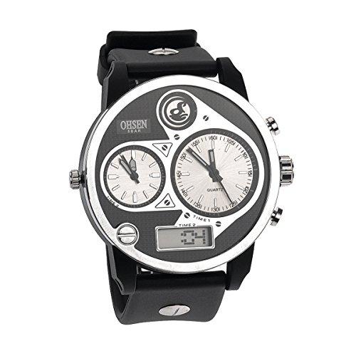 UKCOCO Ohsen ad2806 wasserdicht Herren dreimal Display LED digital Quarz Sport Armbanduhr mit Datum/Zeit/Gummiband/Metall Paket Box