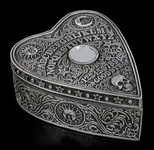 Figuren Shop Gmbh Fantasía Caja de Joyería en Forma de Corazón - Spirit Tablero Gótico Schmuck-Dose con Mystischen Símbolos y Adornos, Pintado a Mano