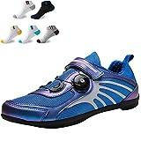 XFQ Zapatillas De Ciclismo para Mujeres, Zapatos De Bicicleta Casuales De Verano Antideslizantes Sin Bloqueo Amortiguación Transpirable Zapatillas De Ciclismo De Carretera,Azul,42EU