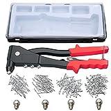 Pistolet à rivets professionnel avec rivets, outils de réparation à la main de 200 rivets, ensemble de riveteuses à main robuste pour le métal, le bois et le plastique