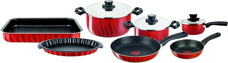 TEFAL Tempo Flame 10Pcs Cooking Pots and Pans Set, Aluminum Non-Stick - C5489982