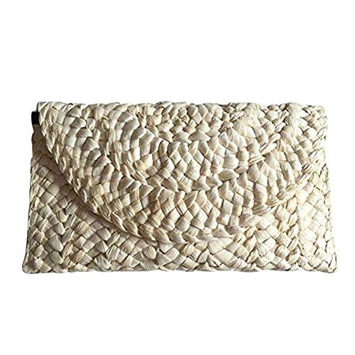 Seasaleshop - Bolso de mimbre para mujer, bolso de mano, bolso de viaje, cesta de camping, bolsa de almacenamiento, organizador