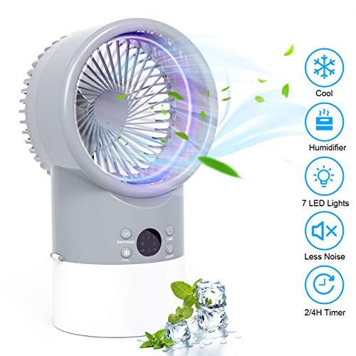 Mobile Klimaanlage Mini Luftkühler, TedGem Mobile Klimaanlage Leise, Air Cooler Klimagerät Mini 4 in 1 Ventilator, Luftbefeuchter, 3 Geschwindigkeiten, 7 LED Luftkühler Klein für Zuhause und Büro