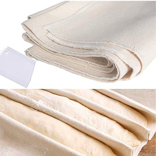 Komiikka Dough Couche Bread Proofing Cloth - 35'x26' Extra Large (w/ Dough Scraper) for Professional Baking French Bread Baguettes Loafs