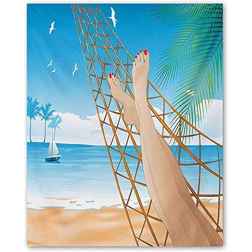 ScottDecor Beach Bedroom Wall Art Legs of The Sexy Lady Laying in The Hammock Toward The Ocean in Hawaiian Tropical Best Funny Gifts Cream Blue L30 x H60 Inch