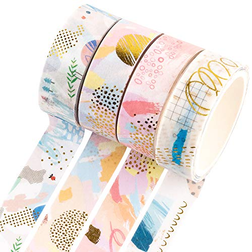 Yubbaex Gold Washi Tape IG Style Foil Masking Tape Set Decorative for Arts DIY Crafts Bullet Journal Supplies Planners Scrapbook Card/Gift Wrapping 4 Rolls x 15mm Geometric Bronzing