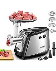 【Upgraded】Aobosi Elektrischevleesmolen, 3-in-1 multi vleesmolen met 3 roestvrij stalen slijpplaten, kubbe en worstvulbuizen | 1200 W Max krachtige motor voor snel en fijn slijpen.