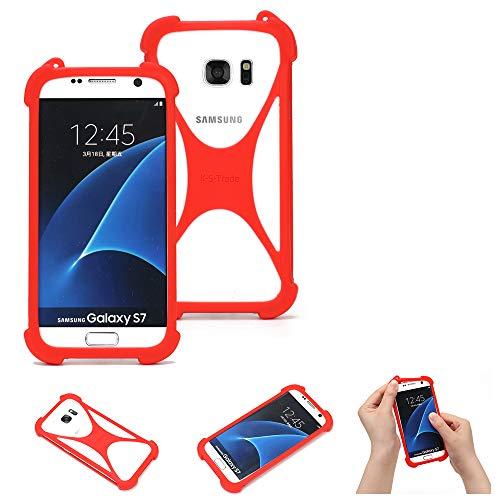K-S-Trade Handyhülle Kompatibel Mit Kazam Trooper 2 6.0 Schutzhülle Bumper Silikon Schutz Hülle Cover Hülle Silikoncase Silikonbumper TPU Softcase Smartphone, Rot (1x)