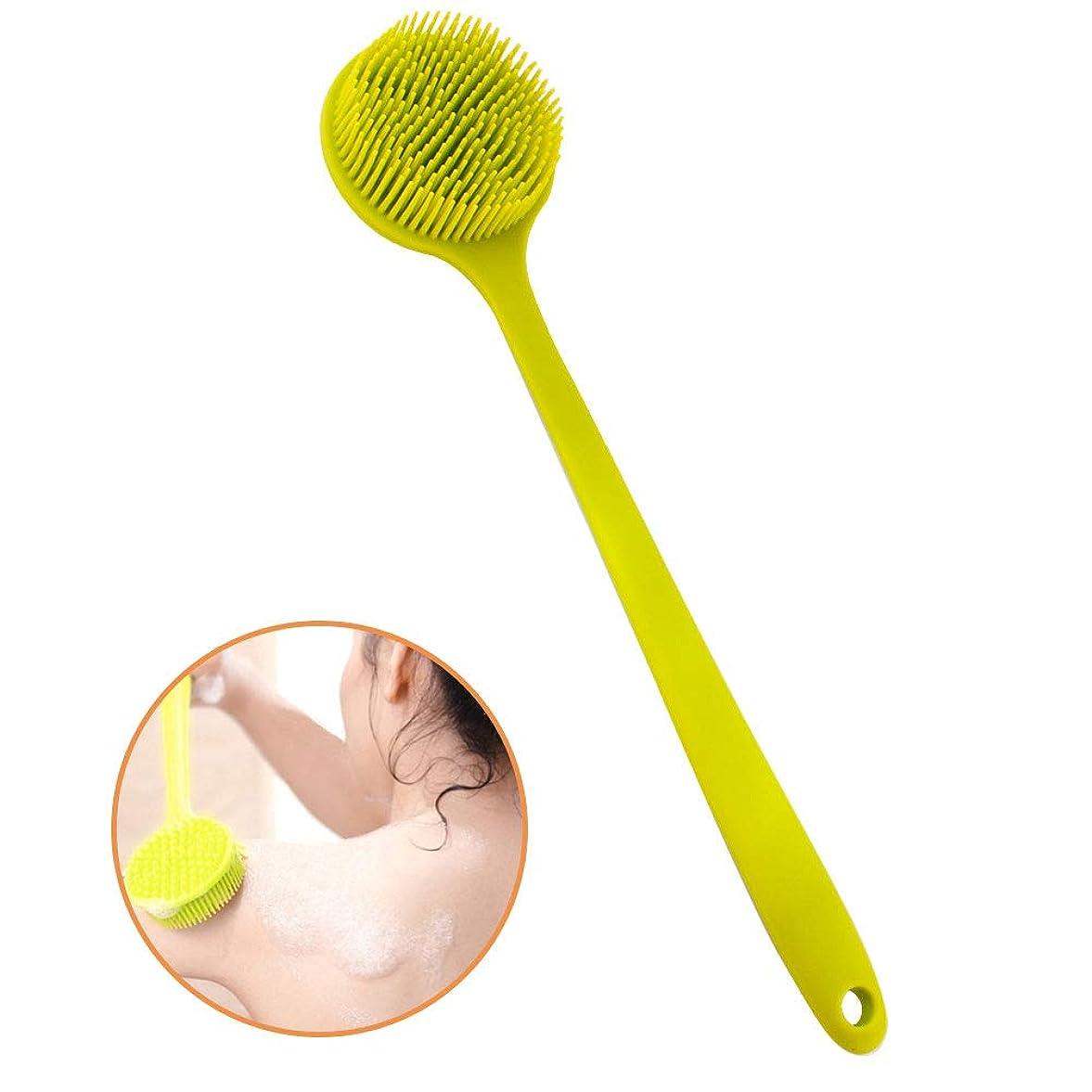 拡声器コンピューターを使用する増強するボディブラシ シリコーン シャワーブラシ 背中 体洗いブラシ やわらか お風呂ブラシ バスブラシ 多機能 シャワーブラシ クリーニングスクラバー 超柔らかい毛 (Green)
