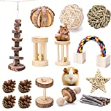 VCZONE 15Pcs Guinea Pig Toys Chinchilla Hamster Toys, Bunny Chew Toys Rat Gerbil Molar Wooden Pine Dumbells Exercise Bell Roller Fun Pet Balls Small Pets Play Toy (15 Pack)