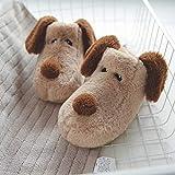 Flip Flop-GQ Cute Puppy Winter Slippers Kids Winter Comfort Zapatillas de Dibujos Animados de Espuma de Memoria @ Beige Dog_41 / 42