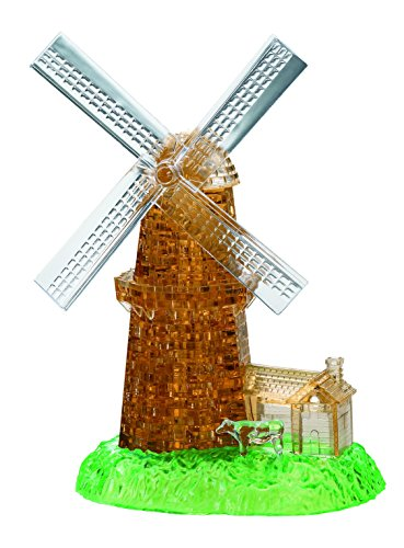 Bepuzzled Deluxe 3D Crystal Jigsaw Puzzle Kit - Windmill DIY Assembly Brain Teaser, Fun Model Toy Gift Decoration for Adults & Kids Age 12 and Up, 64 Pieces (Level 3)