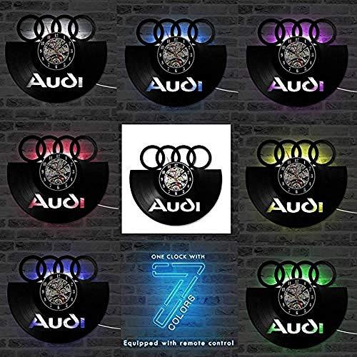thetobea Vinylaufzeichnung Wanduhr Auto Logo Vinylaufzeichnung Wanduhr 3D Dekorative Hängende Vintage Uhr LED Wanduhr Wohnkultur Geschenk für Auto Liebhaber @ Audi-7_Led_Change