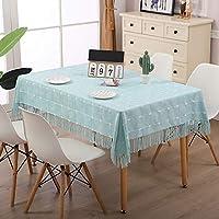 洗えるコットンタッセルデザインテーブルクロス、長方形のテーブルカバー、キッチンテーブルトップビュッフェの装飾に最適 (色 : D, Size : 105x105cm)