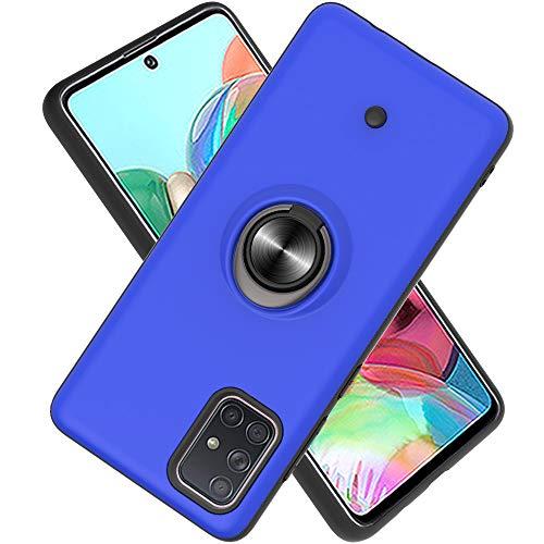 Coque Samsung Galaxy A71,Bouton de décompression,Gyroscope Rotatif,PC + TPU Housse résistant aux Chocs avec Support à Anneau Rotatif à 360 degrés -Bleu Marin