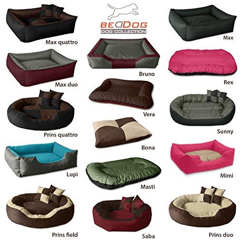 BedDog Hundebett LUPI/Hundesofa aus Cordura & Microfaser-Velours/waschbares Hundebett mit Rand/Hundekissen Vier-eckig/für Drinnen & draußen/XL / The-Rock/schwarz-grau - 4