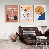 Cuadro de arte de pared Literatura abstracta y arte Líneas geométricas retro Mujeres Lienzo Pintura Carteles Impresiones para sala de estar 50x80cmx3pcs Sin marco