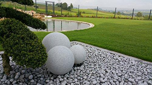 Trango 3er Set 34500GB IP65 Gartenkugel 30/40/50cm Durchmesser in Granitstein-Optik *NATURE* Kugelleuchte inkl. je 1x ca. 4 Watt E27 LED Leuchtmittel & je 5 Meter IP44 Kabel Leuchtkugel, Gartenlampe