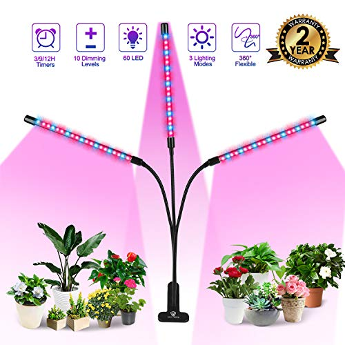 Plant Grow Light, 60W 60 Led Grow Light Bars for Indoor Plants Red/Blue Spectrum 3 Heads Plant Grow Lamp with 10 Dimmable Brightness and Timer for Seeding, Flowering and Fruiting