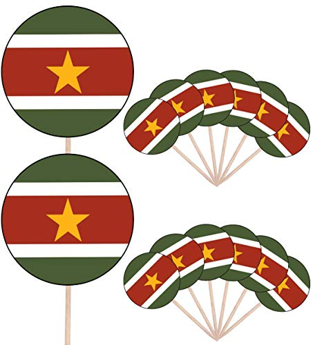 Suriname Vlag Partij Voedsel Cake Cupcakes Picks Sticks Vlaggen Opstaan Decoraties Toppers (Pak van 14)