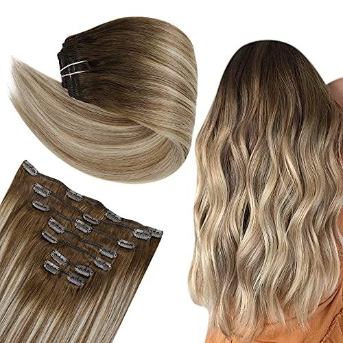 Easyouth Agrafe sur des Cheveux pour des Femmes 22 pouces Couleur # 8 Brown Brown avec la Couleur # 22 Blond Moyen Balayage de vrais Cheveux Humains Avec des Agrafes.
