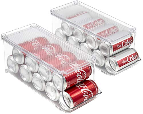 Sorbus Soda Can Organizer and Canned Food Bin Stackable Dispenser with Lid for Refrigerator, Pantry, Freezer – Holds 9 Cans, BPA-Free, Clear Design (2)