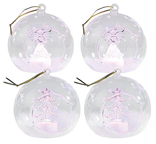 Lunartec LED Glaskugeln: Mundgeblasene LED-Glas-Ornamente in Kugelform, 4er-Set (LED Kugeln für Weihnachten)