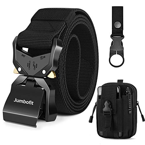 Jumbofit Tactical Belt for Men and Women, Military Work Belt Nylon with Quick-Release Buckle, Gift with Molle Pouch & Clip