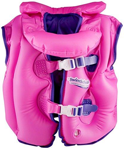Aqua LEISURE ET9069PK Fabric Lined Inflatable Swim Vest, Removable Collar, adj. Buckles, Pink Toy