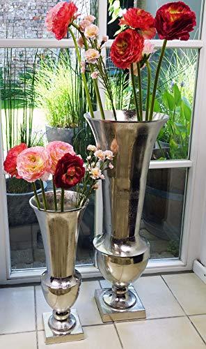 Michael Noll Vase Blumenvase Gefäß Pokalvase Dekovase Aluminium Silber Aluminium - Bodenvase für Kunstblumen und Pampasgras - 52 cm / 80 cm (30x30x80 cm)