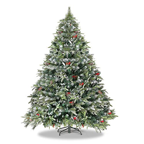 WBHome 6 Feet Snow Flocked Premium Spruce Hinged Artificial Christmas Tree, 792 Branch