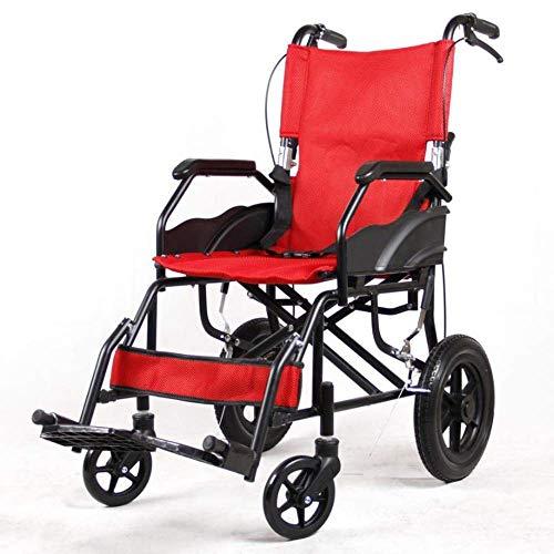 N/Z Equipo Diario Plegable en Silla de Ruedas Ligero Portátil Aleación de Aluminio Superligero Viaje Manual Trolley de Viaje Rojo