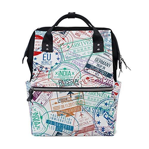 Colorful Stamps Sac à dos à langer pour maman femme Sac à langer multifonction Grand sac à dos de voyage école école extérieur