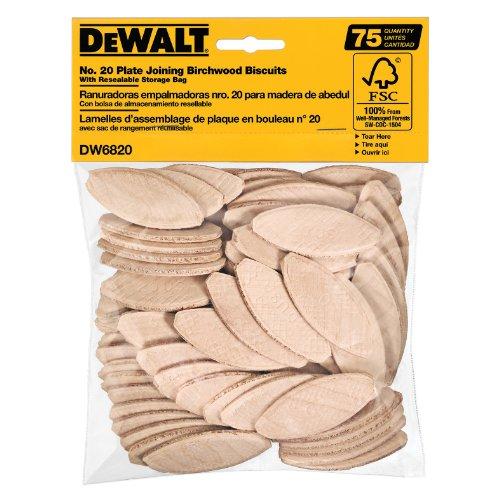 DEWALT Joiner Biscuits, No. 20 Size, 75-Piece (DW6820)