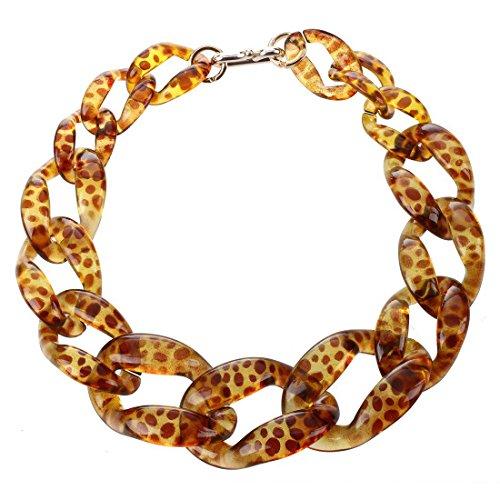 TOOGOO(R) Gros collier de chaine en plastique bijoux de imprime leopard a la mode