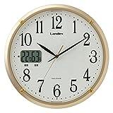 ランデックス(Landex) 掛け時計 電波 アナログ 32.5cm ソクテルEX 温湿度表示 夜間秒針停止 常時点灯 ゴールド YW9150GD
