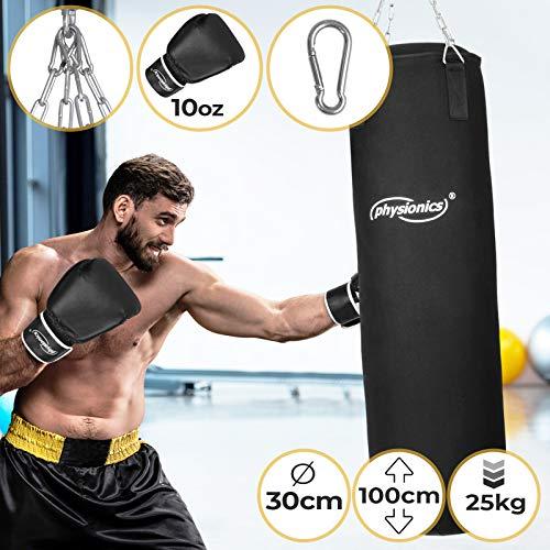 Physionics Boxsack Set - mit Boxhandschuhen für Erwachsene 10oz, Gefüllt, Ø30cm, H100cm, Gewicht 25kg - Box Komplett, Kickboxen, MMA, Taekwando, Kampfsport, Fitness, Sport, Muay Thai, Punching Bag