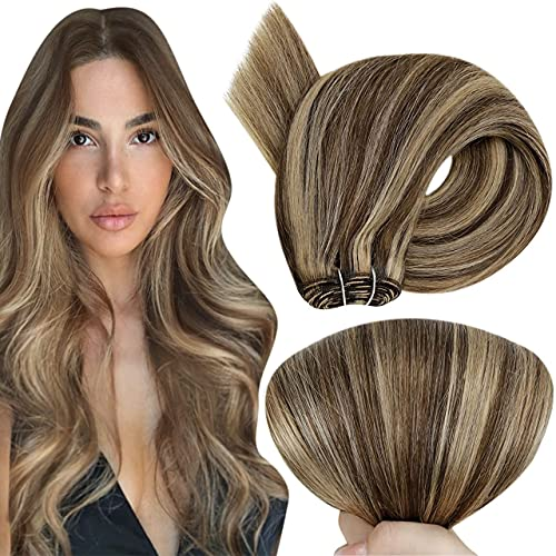 Hetto Blonde Weft Hair Extensions Human Hair 12 Inch 70g #4/27 Medium Brown Highlighetd Honey Blonde Hair Weft Sew in Human Hair Weft Blonde